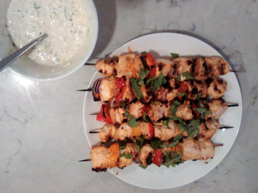 Grilled Chicken Kebabs with Yogurt Dipping Sauce