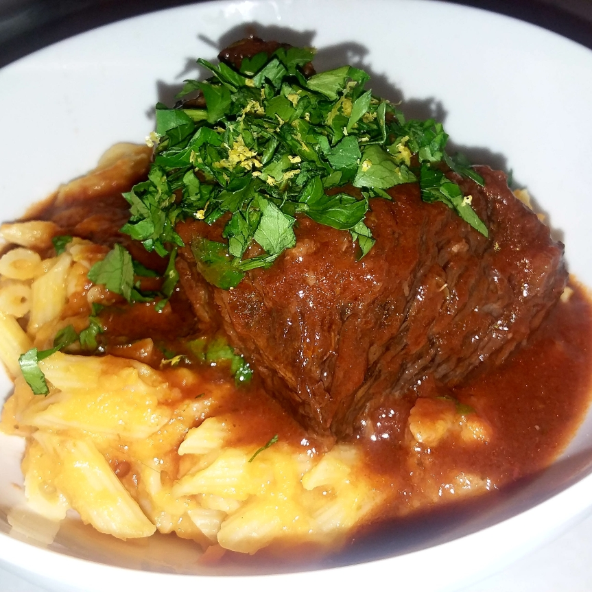 Valentine's Day Dinner: Braised Short Ribs Over Butternut Squash Pasta