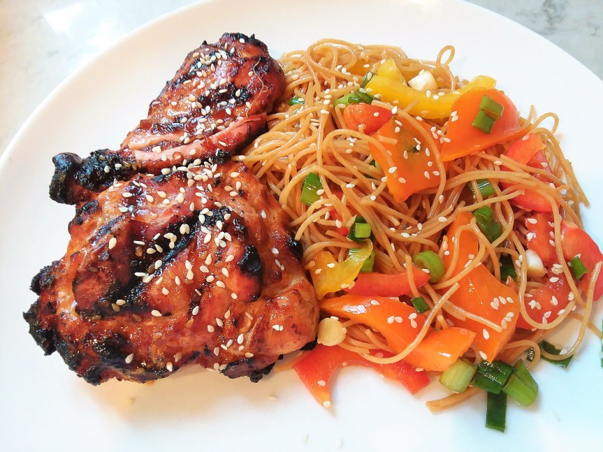Sesame Marinated Chicken Thighs & Sesame Noodles