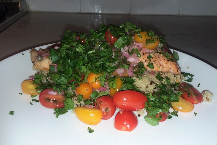 Roasted Salmon With Tomato Caper Vinaigrette